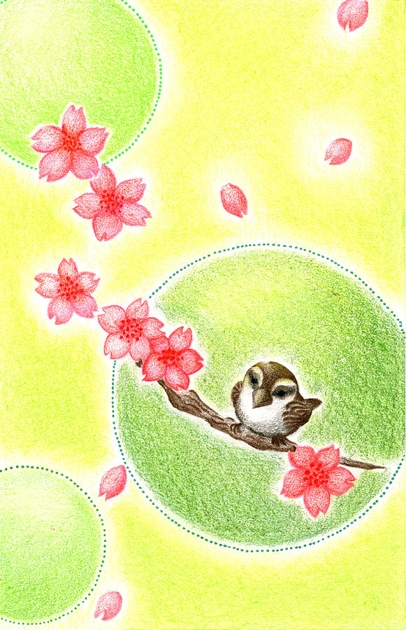 Greeting Cards Drawing - Spring by Keiko Katsuta