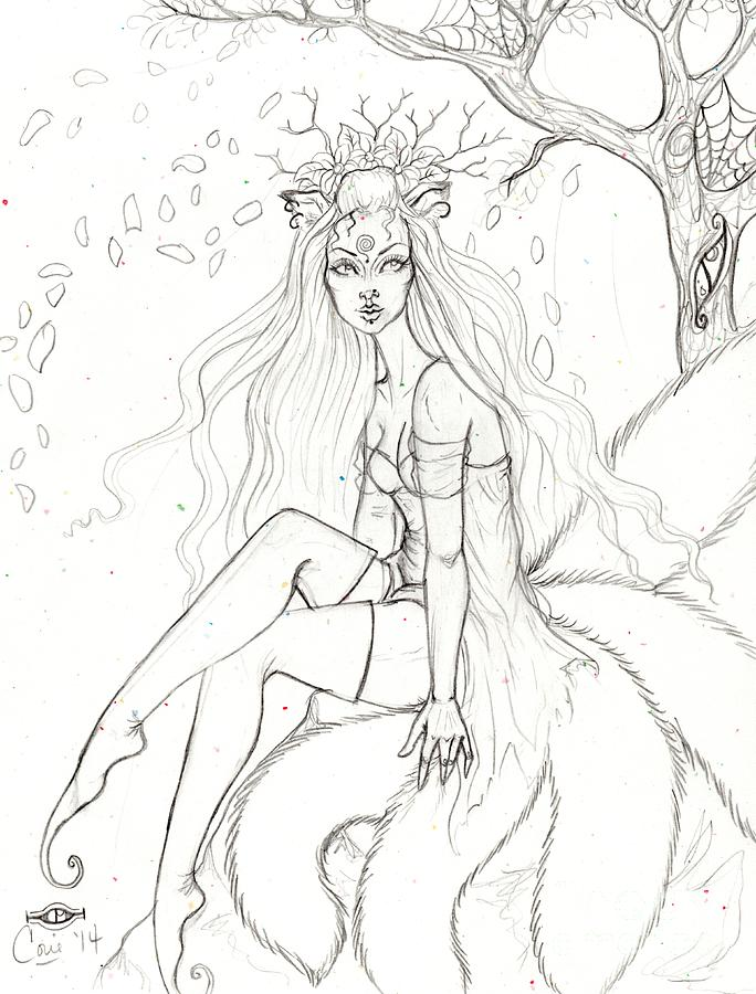 Sketch Drawing - Spring Kitsune by Coriander Shea