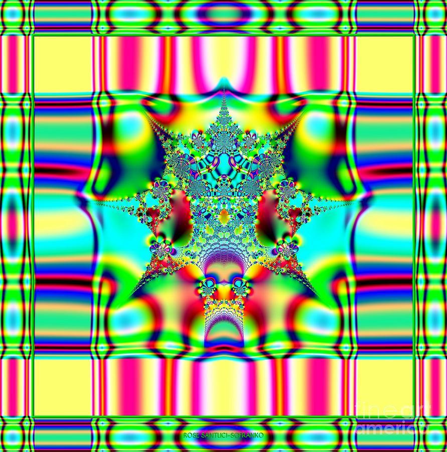 Plaids Digital Art - Spring Plaid Fabric Fractal by Rose Santuci-Sofranko