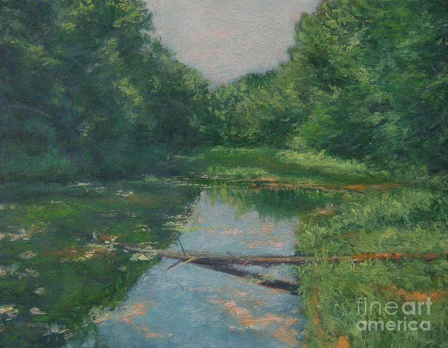 Spring Pond Reflection Painting