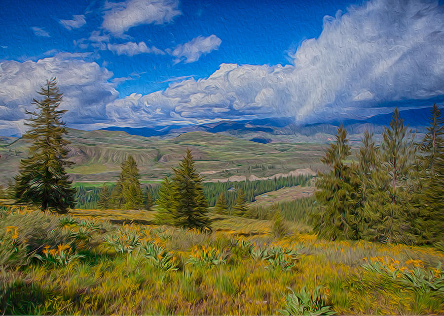 Spring Rain Across A Valley Painting  - Spring Rain Across A Valley Fine Art Print