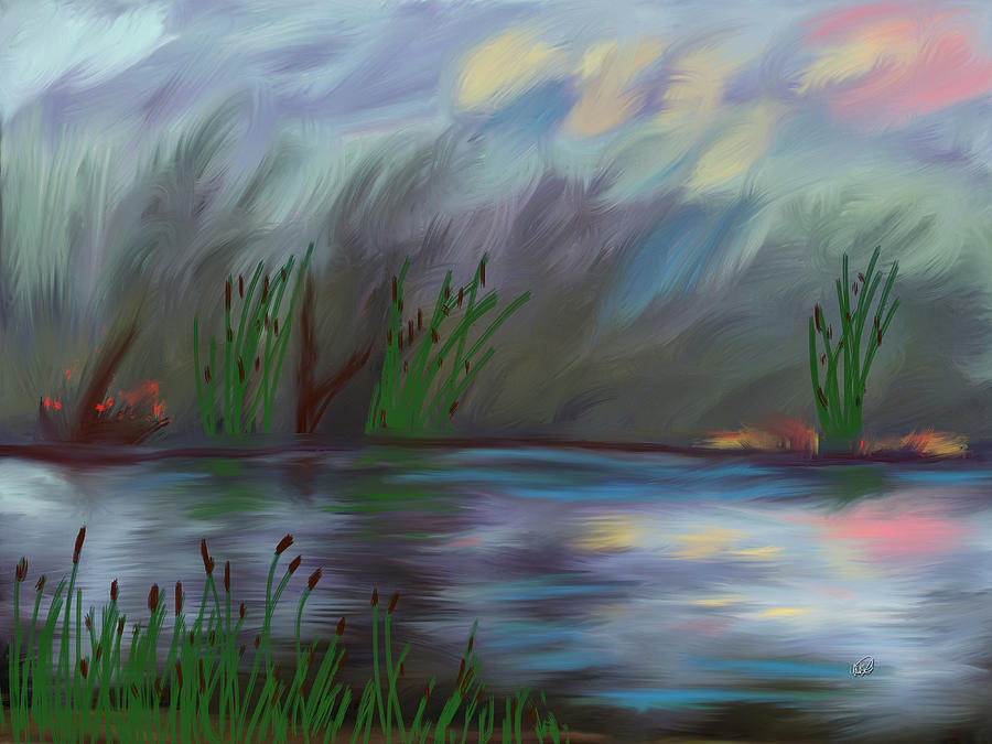 Spring Reed In The Canyon Painting  - Spring Reed In The Canyon Fine Art Print