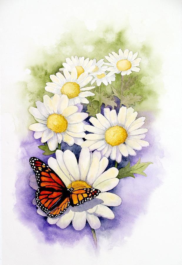 Watercolor Floral Painting - Springtime Daisies  by Brett Winn