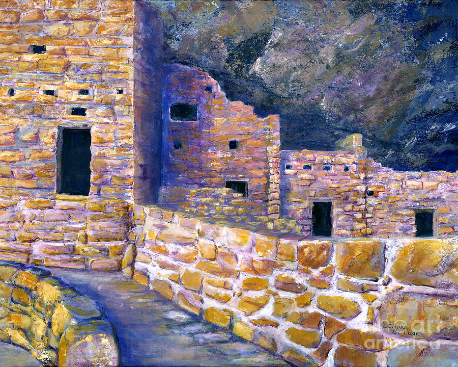 Spruce House At Mesa Verde In Colorado Painting  - Spruce House At Mesa Verde In Colorado Fine Art Print