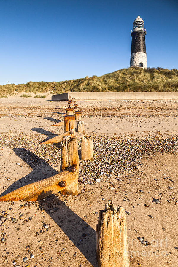 Spurn Point Lighthouse And Sea Defences Photograph