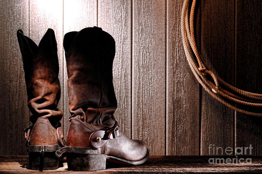 Spurs On Cowboy Boots Heels Photograph