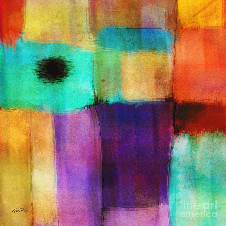 Square Abstract Study Three  Mixed Media