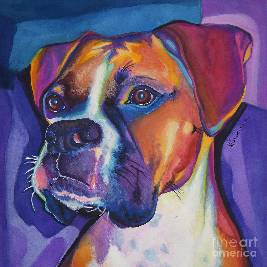 Square Boxer Portrait Painting  - Square Boxer Portrait Fine Art Print