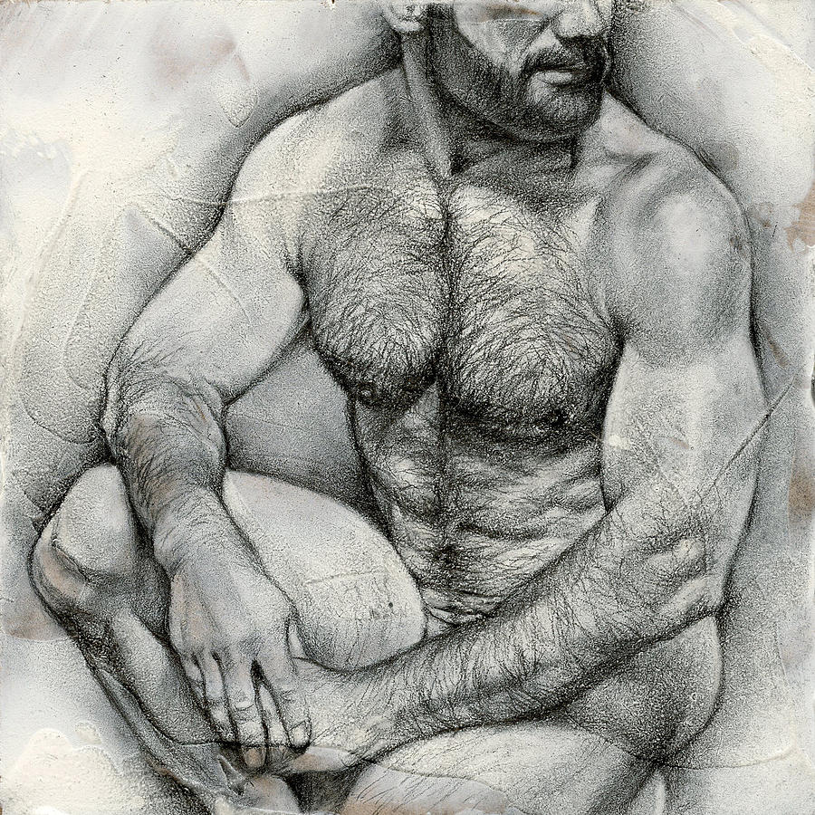 Male Drawing - Square Composition 2 by Chris  Lopez