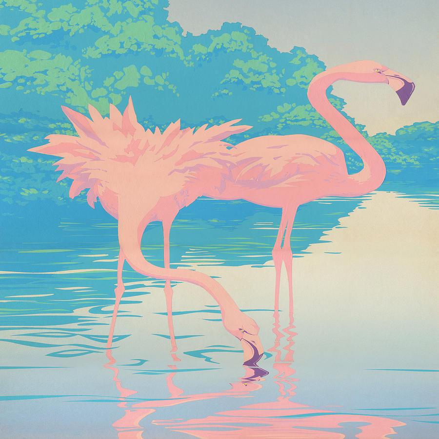 Square Format Pink Flamingos Retro Pop Art Nouveau