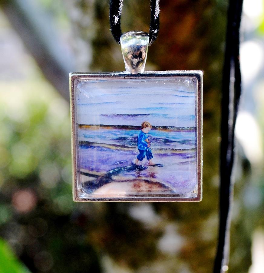 Square Glass Art Pendant Of Little Boy Walking On Beach Jewelry