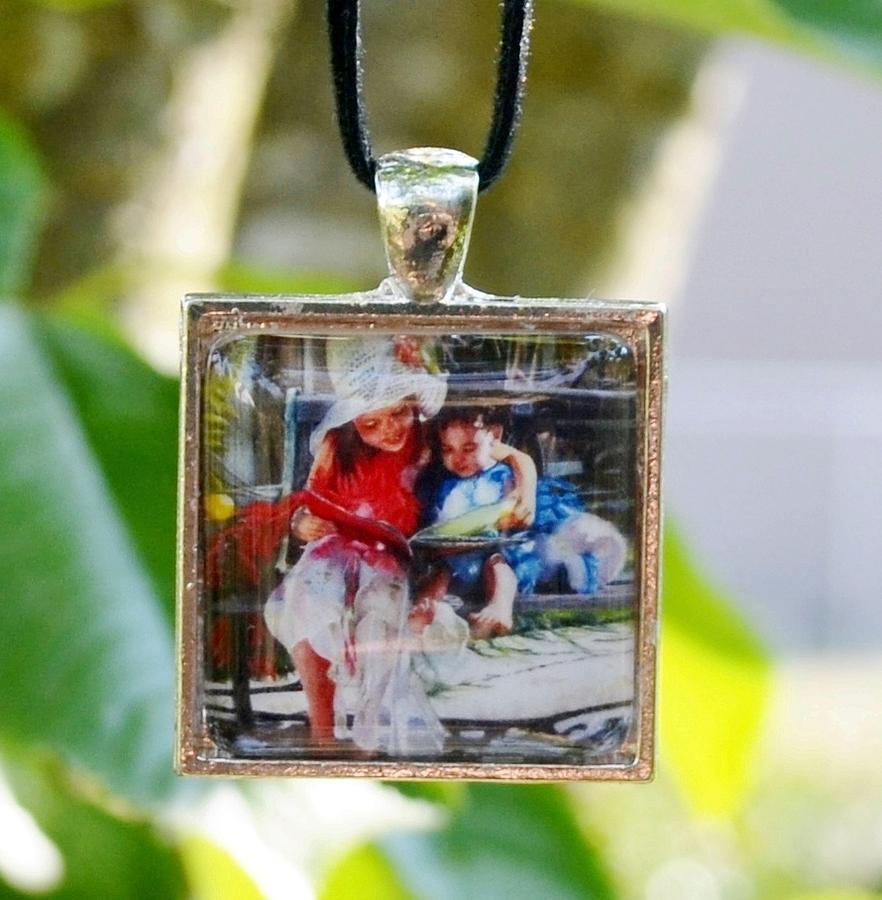 Square Glass Art Pendant With Miniature Painting Of Girls Reading On Garden Bench Jewelry