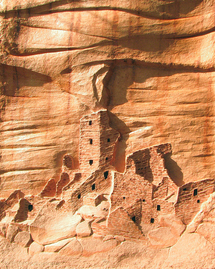 Square Tower House Mesa Verde Relief  - Square Tower House Mesa Verde Fine Art Print