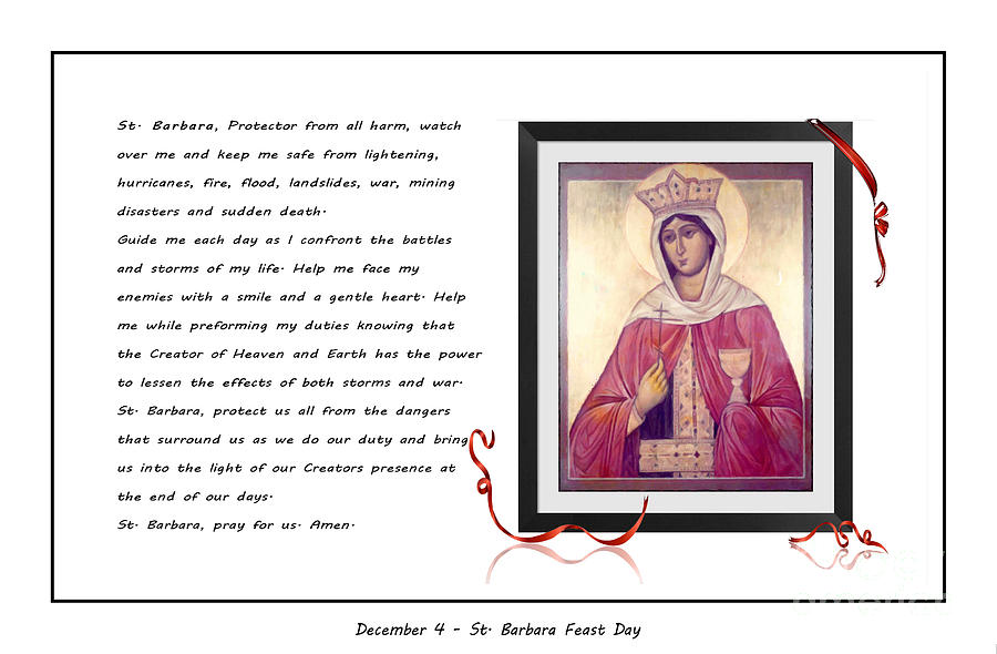 St Barbara Digital Art - St. Barbara Protector From All Harm - Prayer - Petition by Barbara Griffin