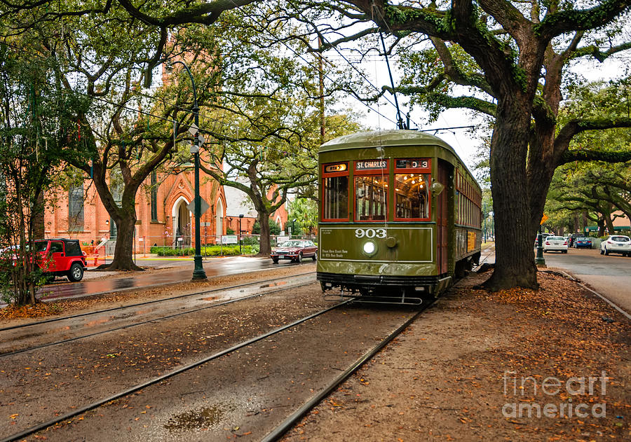 St. Charles Ave. Streetcar In New Orleans Photograph