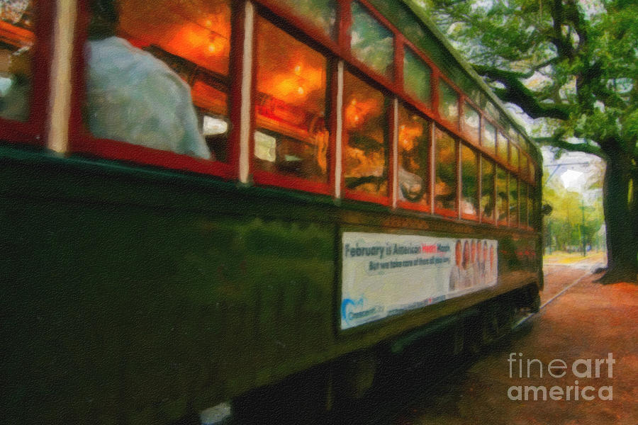 St. Charles Ave Streetcar Whizzes By - Digital Art Photograph