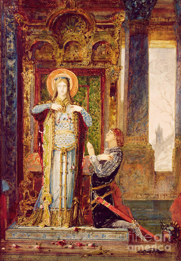 Saint; Female; Elizabeth; Queen; Knight; Male; Kneeling; Praying; Medieval; Symbolist; Elisabeth De Hongrie Painting - St Elisabeth Of Hungary Or The Miracle Of The Roses by Gustave Moreau