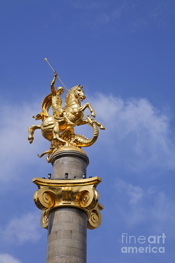 St George And The Dragon Statue In Tbilisi Photograph