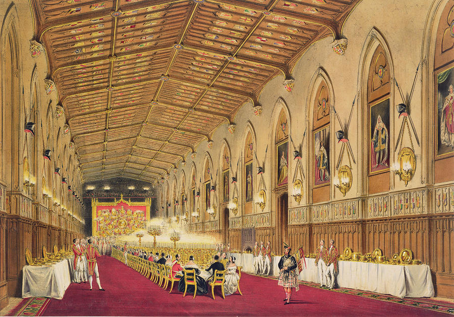 Interior Drawing - St Georges Hall At Windsor Castle by James Baker Pyne