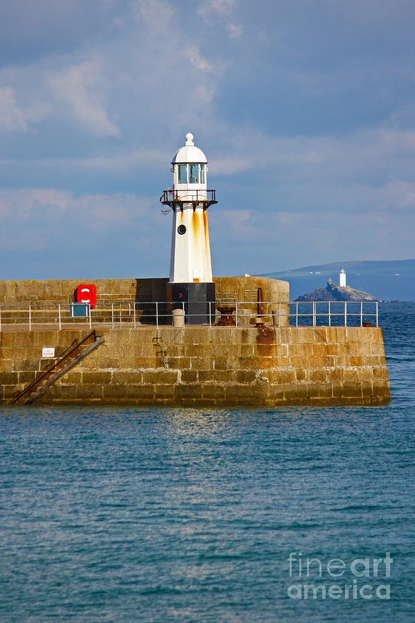 Lighthouses Photograph - St Ives And Godrevy Lighthouses Cornwall by Terri Waters