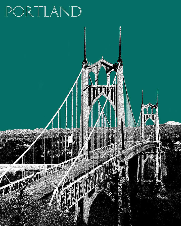 St. Johns Bridge Digital Art  - St. Johns Bridge Fine Art Print