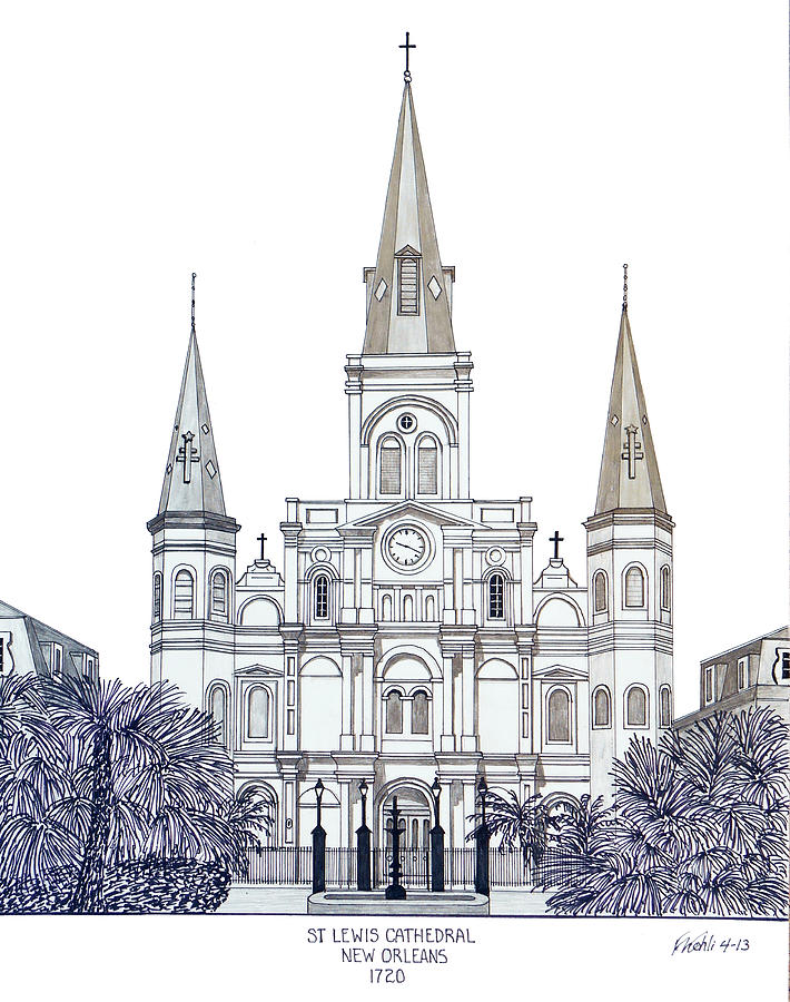 St Louis Cathedral Of New Orleans Drawing  - St Louis Cathedral Of New Orleans Fine Art Print