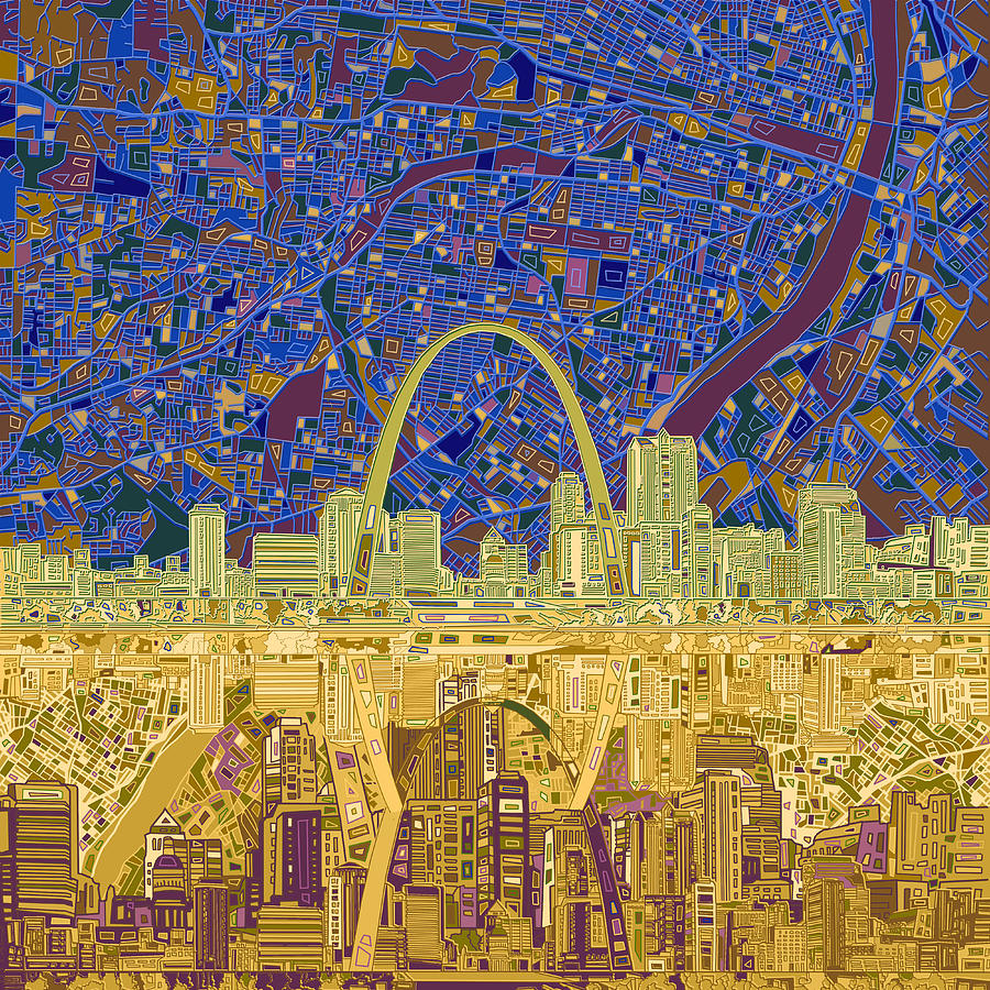 St Louis Skyline Abstract 9 Painting By Bekim Art