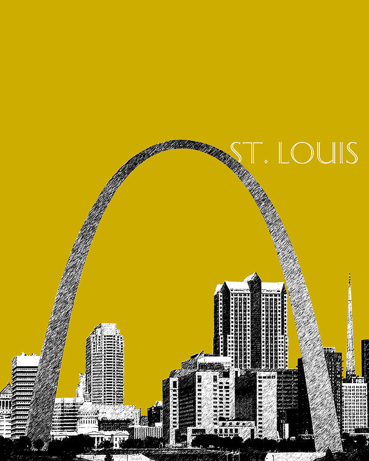 St Louis Skyline Gateway Arch - Gold Digital Art