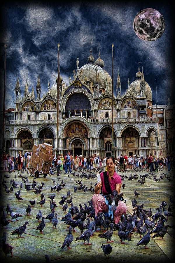 St Marks Basilica - Feeding The Pigeons Photograph  - St Marks Basilica - Feeding The Pigeons Fine Art Print