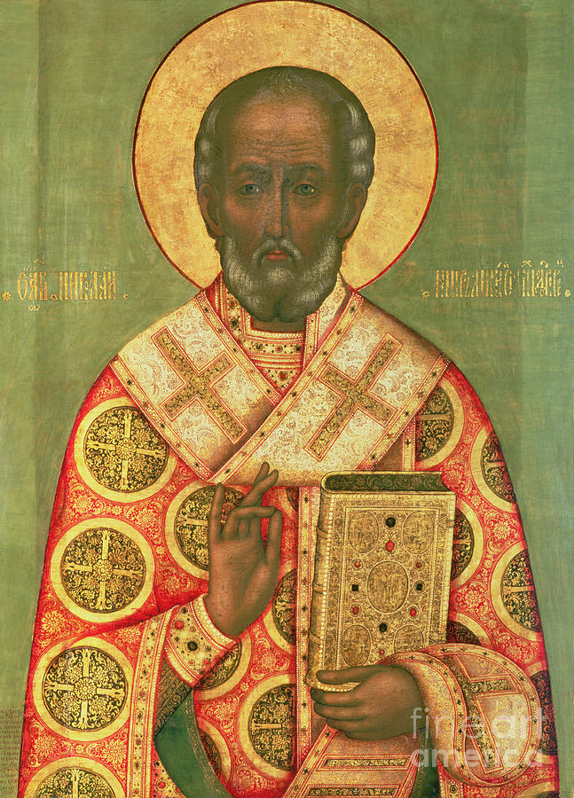 Miracle Worker; Icon Painting - St. Nicholas by Russian School