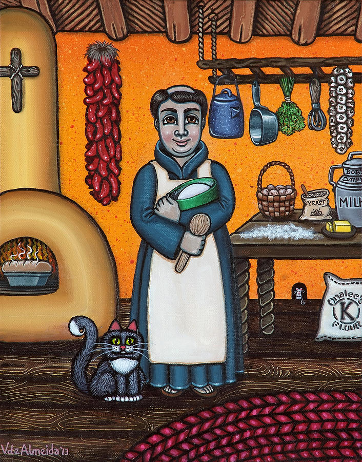 San Pascual Painting - St. Pascual Making Bread by Victoria De Almeida