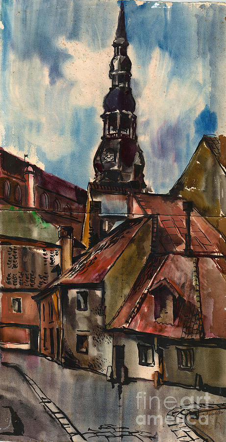 St. Peters Church In Riga Painting  - St. Peters Church In Riga Fine Art Print