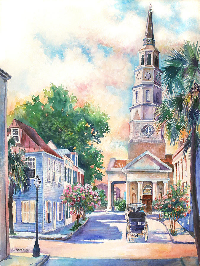 St. Philips Episcopal Church Painting by Alice Grimsley