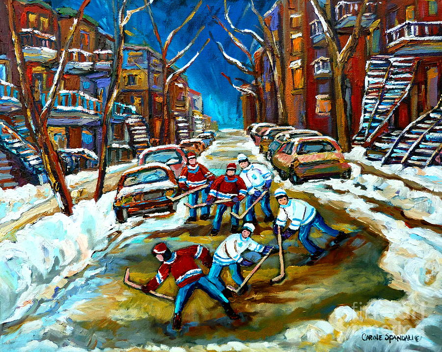 St Urbain Street Boys Playing Hockey Painting