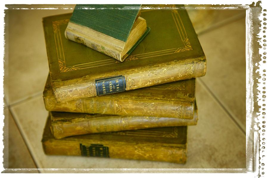 Stack Of Antique Books Photograph  - Stack Of Antique Books Fine Art Print