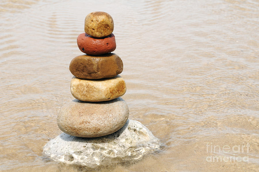 Stacking Of Pebbles Photograph  - Stacking Of Pebbles Fine Art Print