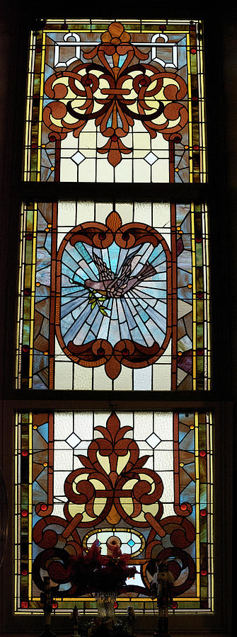 Stained Glass 3 Panel Vertical Composite 05 Photograph