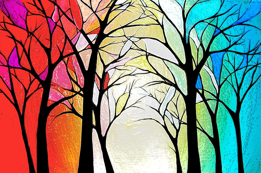 Stained Glass Forrest Painting  - Stained Glass Forrest Fine Art Print