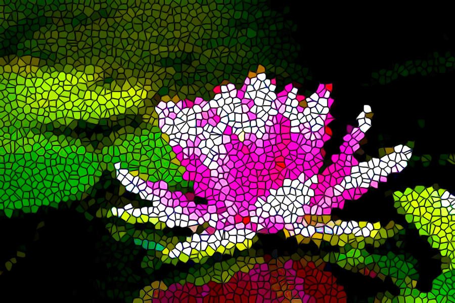 Stained Glass Pink Lotus Flower   Painting