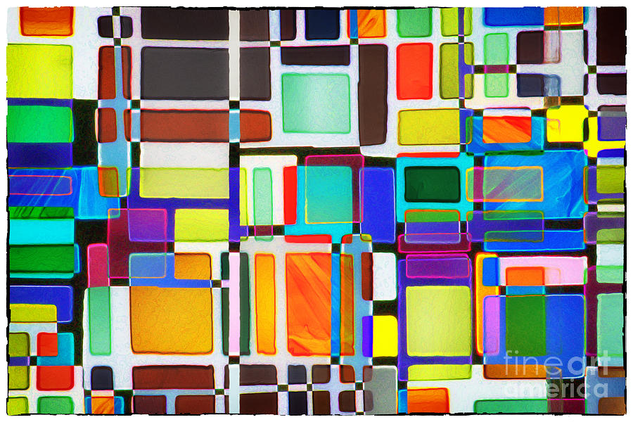 Abstract Photograph - Stained Glass Window Multi-colored Abstract by Natalie Kinnear