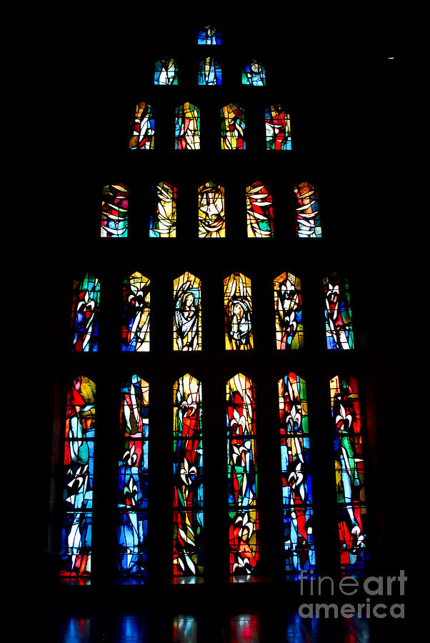 Stained Glass Windows At Basilica Of The Annunciation Photograph