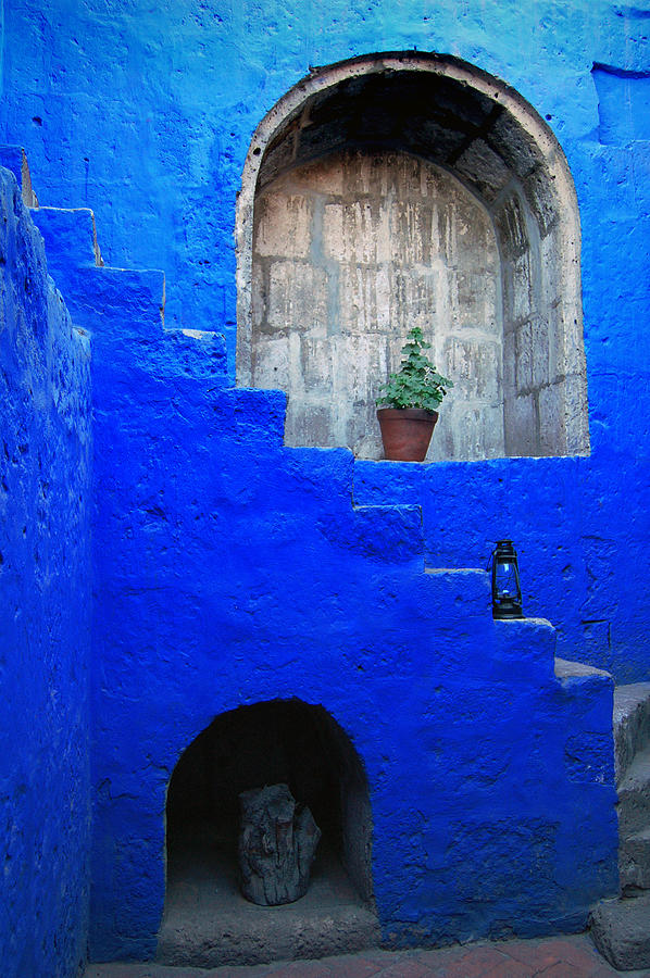 Staircase In Blue Courtyard Photograph