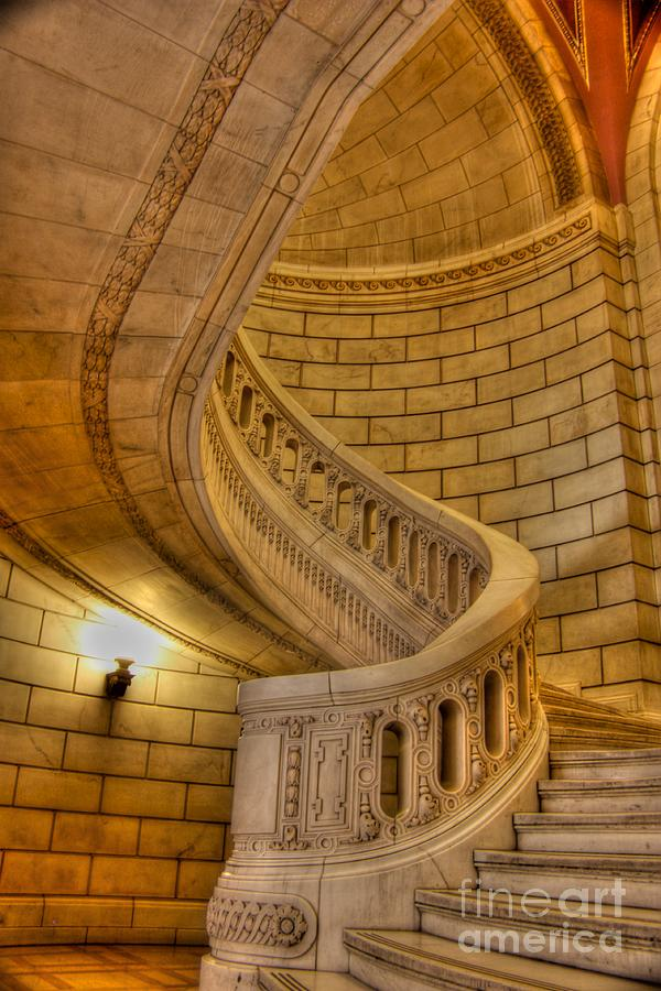 Cuyahoga County Building Photograph - Stairs Of Mythical Proportion by David Bearden