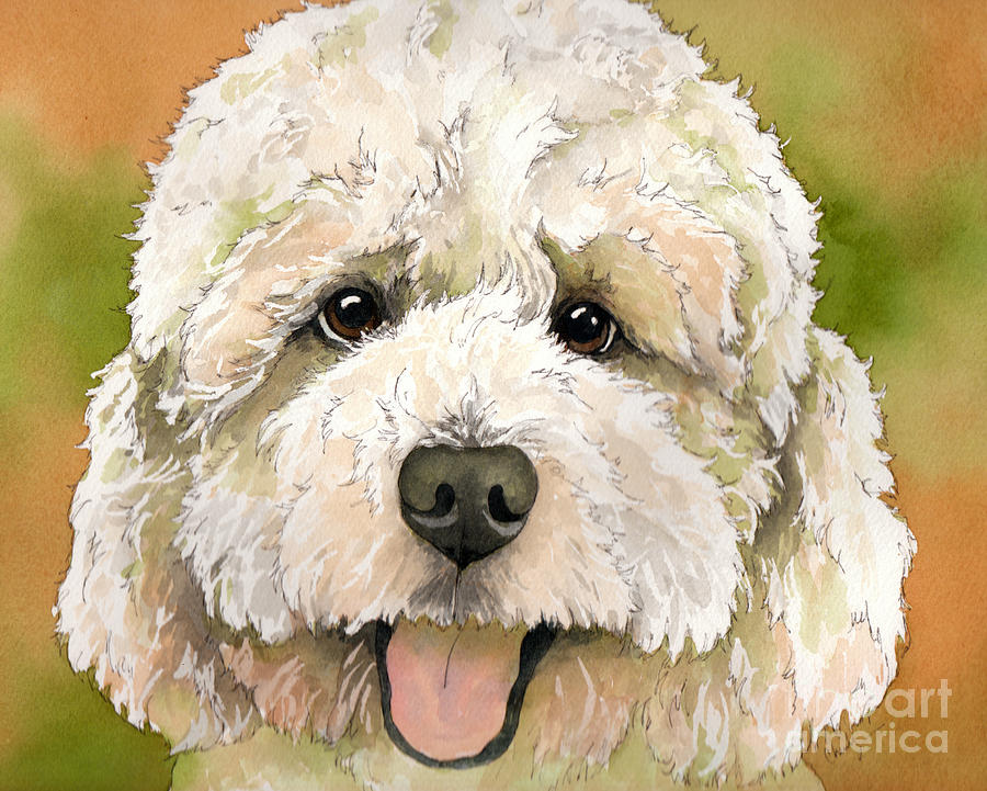 Standard White Poodle Dog Watercolor Painting by Cherilynn Wood