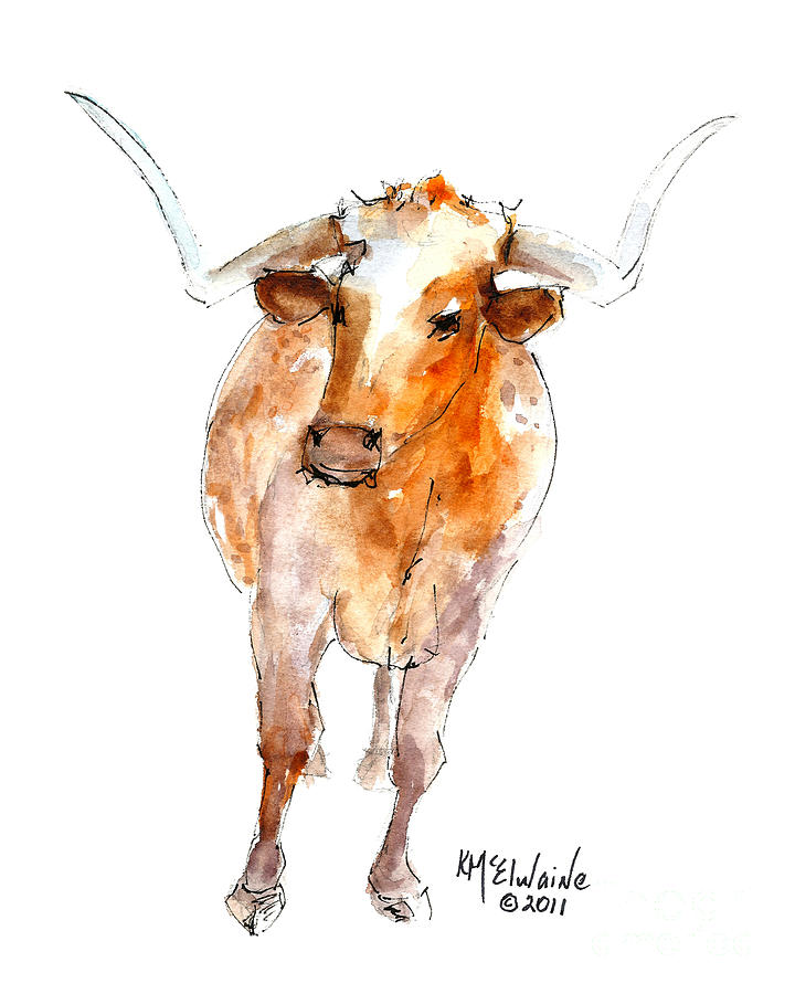 Stands Alone Longhorn 219 Mixed Media  - Stands Alone Longhorn 219 Fine Art Print