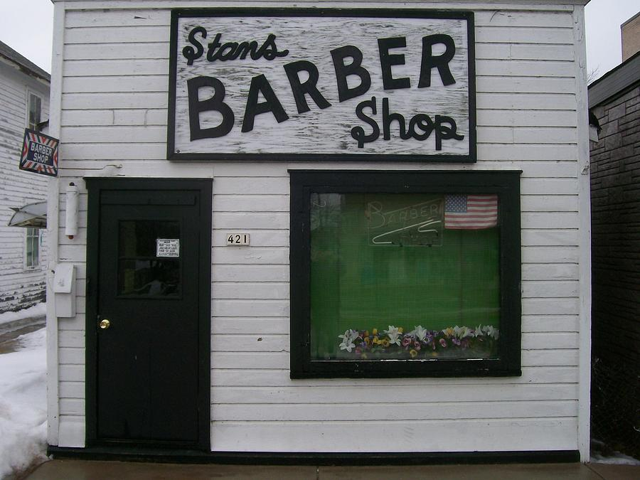 Stans Barber Shop Menominee Photograph  - Stans Barber Shop Menominee Fine Art Print