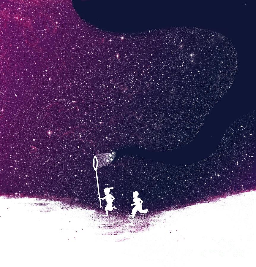 Star Field Purple Digital Art