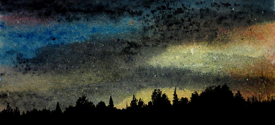 Star Filled Sky Night Starry Stars Sky Painting Landscape Art Trees Nocturne Tree Star Cosmic Artwork Silent Astronomy Yellow Universe Sunset Skies Serenity Outdoors Impressionism Imaginative Galaxy Evening Cosmos Beautiful Astronomie Science Space Sciences Astro Astronomical Kyllo Arts Stellar Distances Vast Cosmology Wall Decor Visual Spatial Watercolor Recycled Composite Photo Panoramic Panorama Wide Scene View Broad Sweeping Big Width Large Landscape Decor Decoration Hard Fit Space Angle Painting - Star Filled Sky by R Kyllo