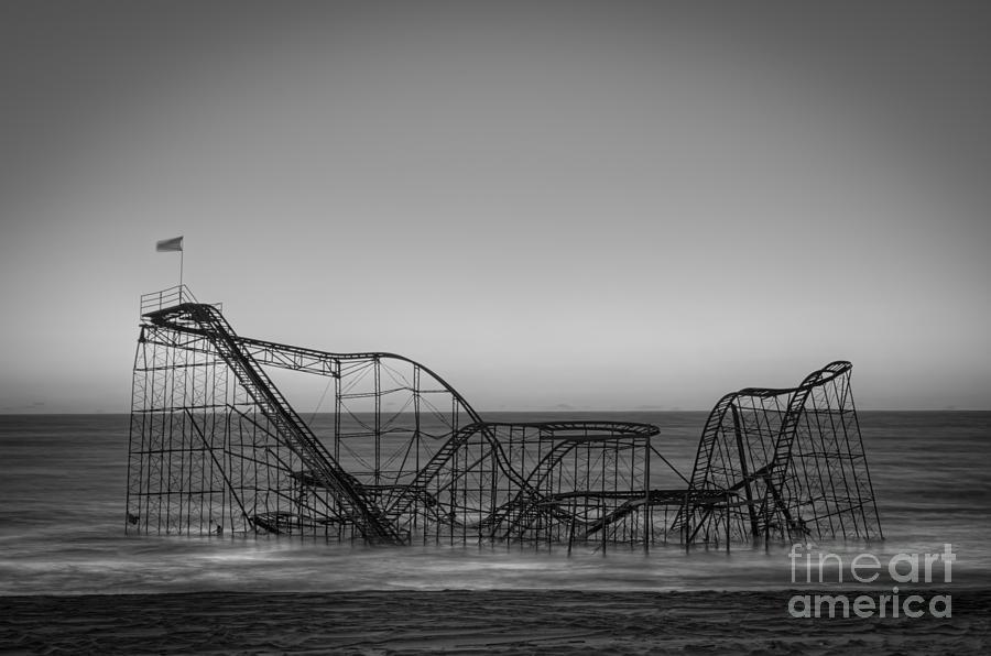Nikon D800 Photograph - Star Jet Roller Coaster Bw by Michael Ver Sprill