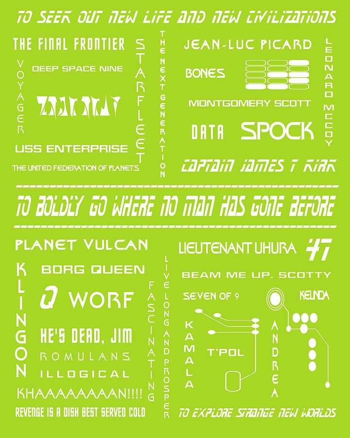 Star Trek Remembered In Green Digital Art